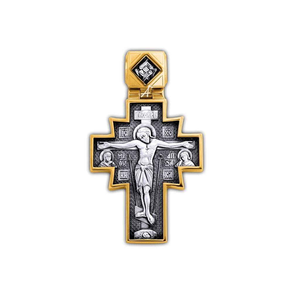 Хрест натільний Акімов 101.254 «Розп'яття.Ікона Божої Матері «Неопалима Купина»