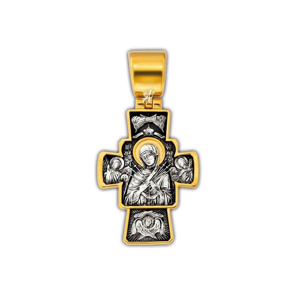 Крест нательный Акимов 101.273 «Распятие. Икона Божией Матери «Семистрельная»