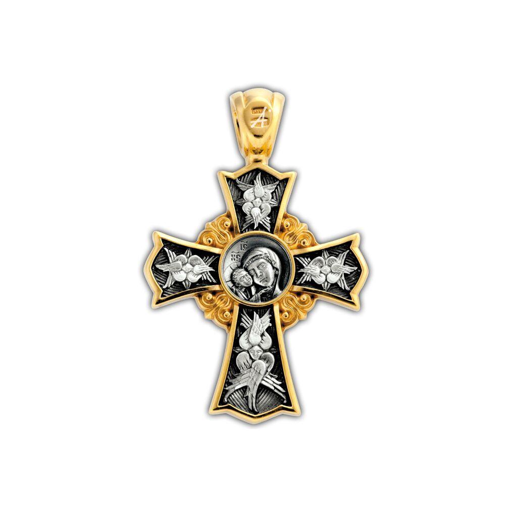 Крест нательный Акимов 101.252 «Спас Нерукотворный. Св. царь Николай II. Икона Божией Матери «Игоревская»
