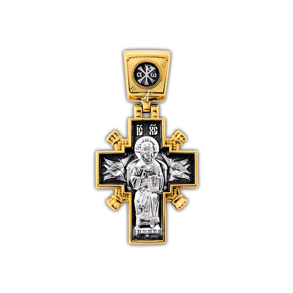 Neck Cross Akimov 101.261 ««Jesus Christ «The King of Kings». The Mother of God Icon «The Sovereign» (Derzhavnaya)»