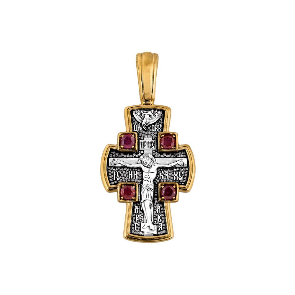 Крест нательный Акимов 101.085/KG «Распятие Господне. Ангел Хранитель»