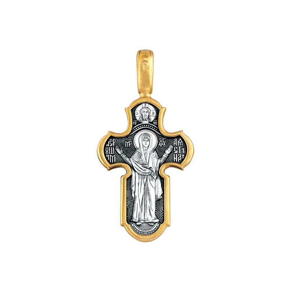 Neck Cross Akimov 101.098 «The Lord Almighty. The Mother of God Icon «The Indestructible Wall»