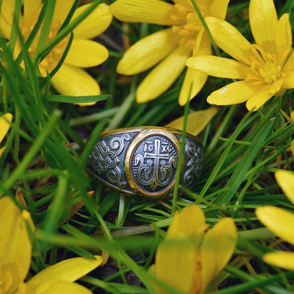 Guard Ring Akimov 108.040-P «Cross in Blossom» Gilding