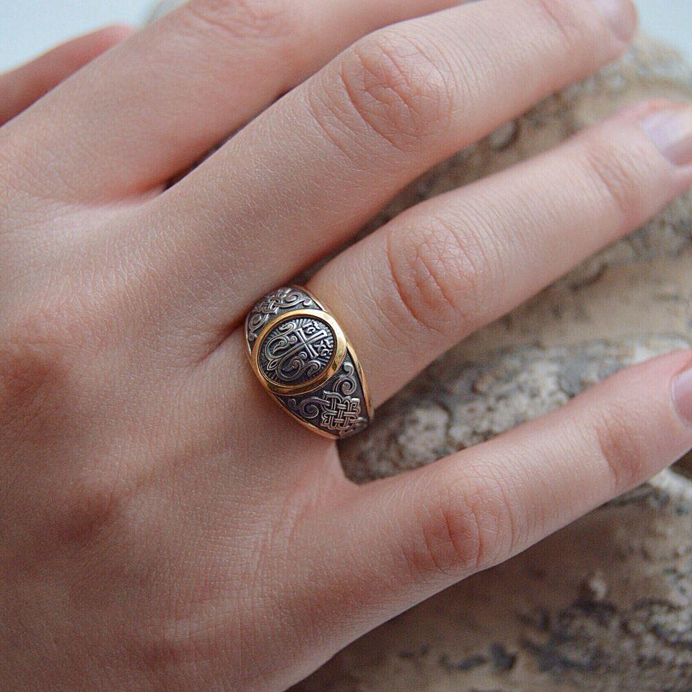 Охранное кольцо Акимов 108.040-P «Процветший Крест» Позолота