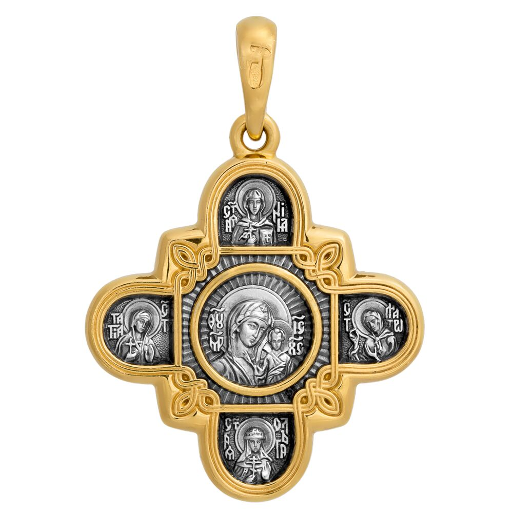 Neck Cross Akimov 101.065 «The Lord Almighty (Christ Pantocrator). The Kazan icon of the Mother of God. Eight Saints»