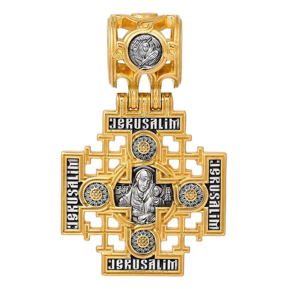 Крест нательный Акимов 101.263 «Господь Вседержитель. Иерусалимская икона Божией Матери»