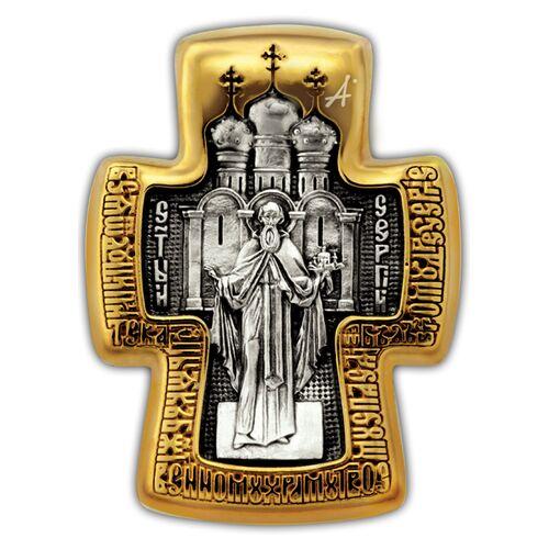 Крест нательный Акимов 101.256 «Святая Троица. Святой преподобный Сергий Радонежский»