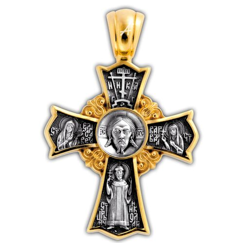 Neck Cross Akimov 101.252 «Icon of Christ Not-Made-by-Hand. Holy Royal Martyr Tsar Nicholas II of Russia. «Igorevskaya Icon of the Mother of God»