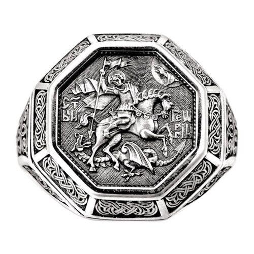 Охранное кольцо Акимов 108.043 «Вмч. Георгий Победоносец» Серебро