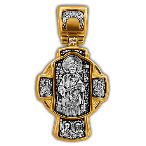 Neck Cross Akimov 101.287 «The Lord Almighty. St. Blessed Matrona of Moscow. Peter and Paul, the Apostles. Sts. Peter and Fevronia»