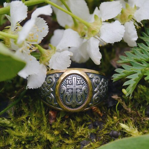 Guard Ring Akimov 108.040-P «Cross in Blossom» Gilding