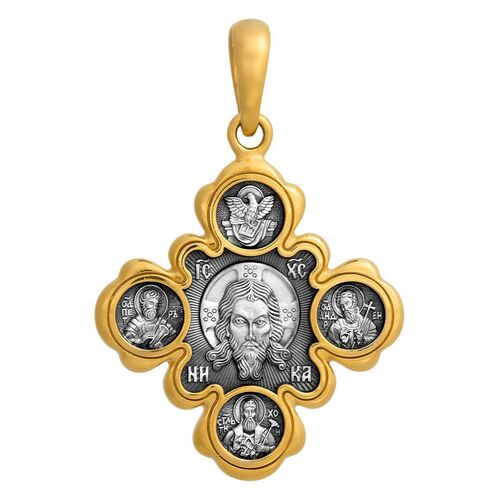 Крест нательный Акимов 101.001 «Спас Нерукотворный. Казанская икона Божией Матери»