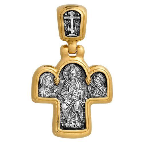 Крест нательный Акимов 101.027 «Спас на престоле. Божия Матерь на престоле»