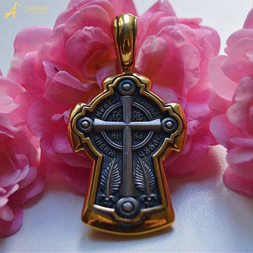 Neck Cross Akimov 101.038 «Cross-in-Blossom. Sts. Sophia and her Three Daughters, Faith, Hope, and Charity (Love), Martyrs»