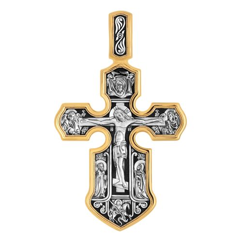 Neck Cross Akimov 101.062 «Crucifix. The Kazan icon of the Mother of God with interceding saints»