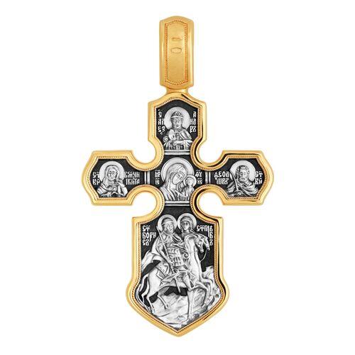 Хрест натільний Акімов 101.062 «Розп'яття.Казанська ікона Божої Матері з майбутніми святими »