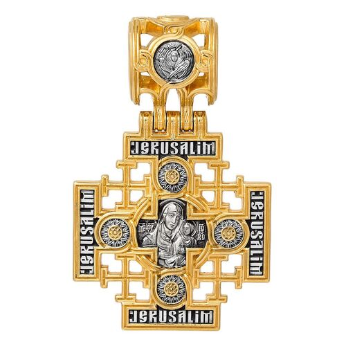 Neck Cross Akimov 101.263 «Lord Almighty. Jerusalem Icon of the Mother of God»