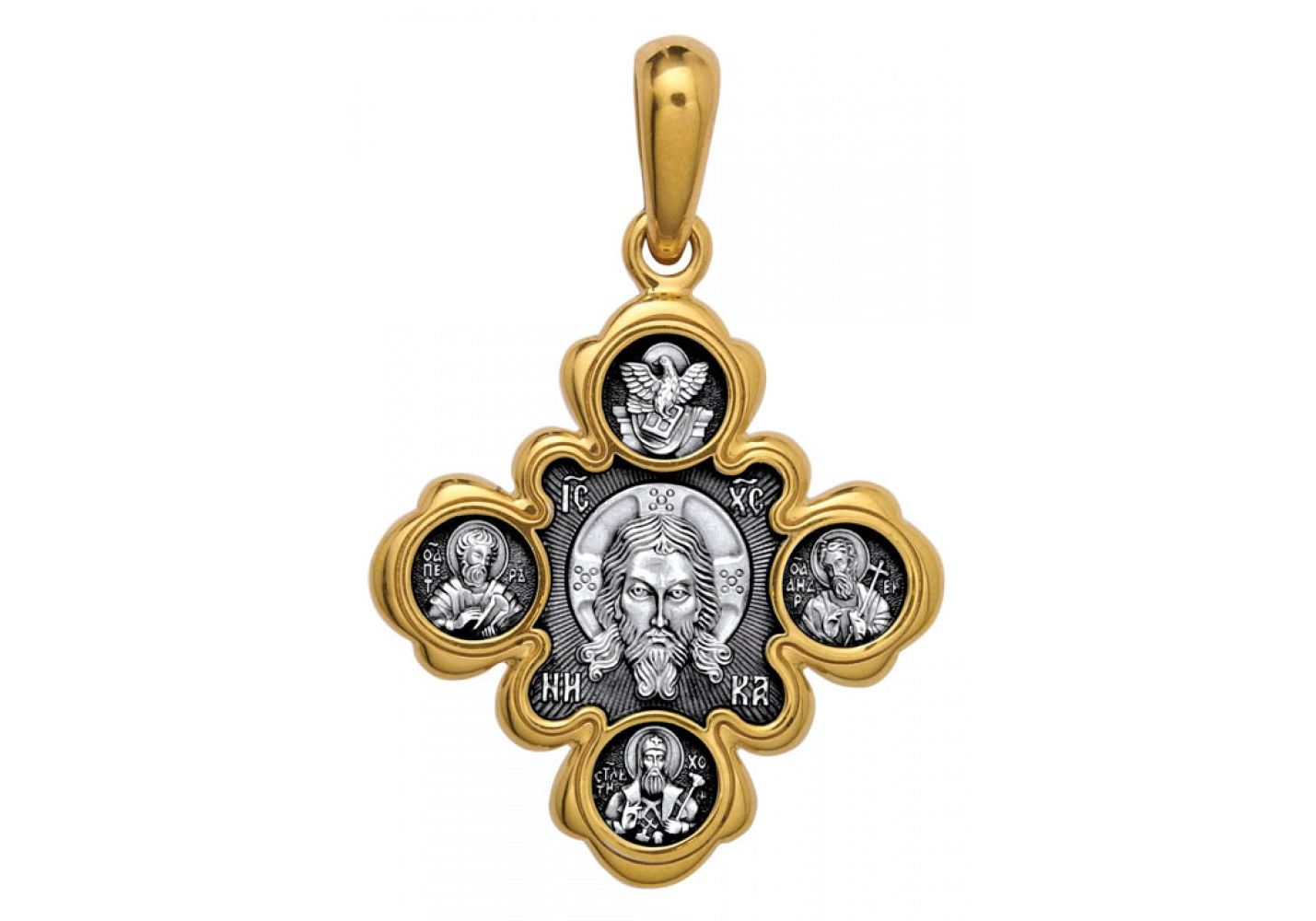 Neck Cross Akimov 101.001 «The Vernicle Image of the Saviour. The Kazan icon of the Mother of God»